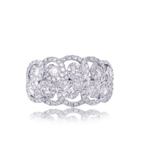 White Mosaic Diamond Ring